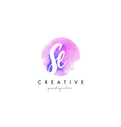 se watercolor letter logo design with purple vector image vector image