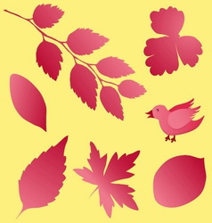 Seamless pattern background with bird and leaves vector image
