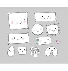 Set of cute cartoon pillows interior decorations vector
