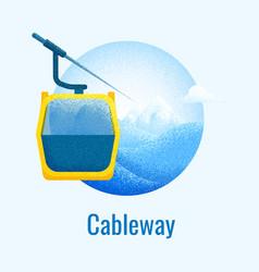 Ski cableway retro banner vector