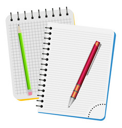 Two notebooks red pen and green pencil vector