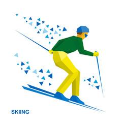 Winter sports - skiing skier running downhill vector