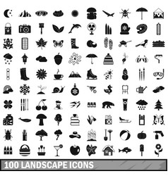 100 landscape icons set simple style vector
