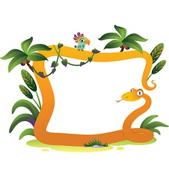 Cartoon frame snake on the white background vector