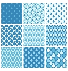 Set of blue water drops seamless patterns vector