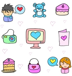 Art of object love theme doodles vector