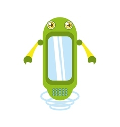 Green robot technology innovation vector