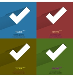 Color set tick flat modern web button with long vector