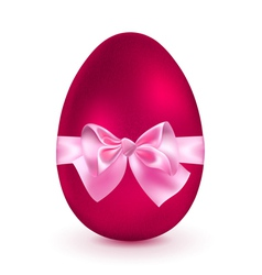 Red egg with pink bow vector