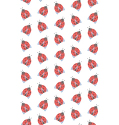 Spring seamless pattern with ladybugs isolated on vector