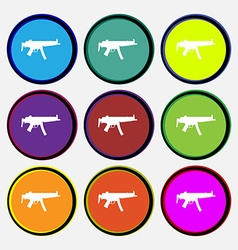 Machine gun icon sign nine multi colored round vector