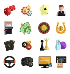 Casino gambling games flat icons set vector