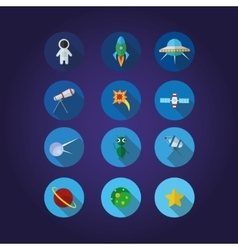 12 space icons set in cirkle vector