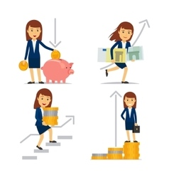 Business woman on way to financial success vector