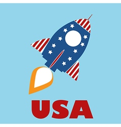 Retro usa rocket vector