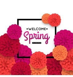 Spring banner with colorful paper flower and black vector
