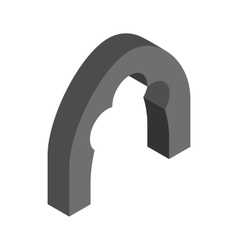 Black trefoil arch icon isometric 3d style vector image
