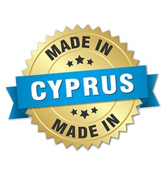 Made in cyprus gold badge with blue ribbon vector