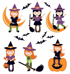 Cute little witches set vector