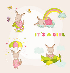 baby girl kangaroo set - baby shower card vector image vector image