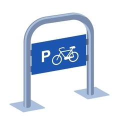 Bicycle parking icon in cartoon style isolated on vector