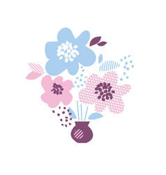 blue and rosy color decorative floral element in vector image vector image