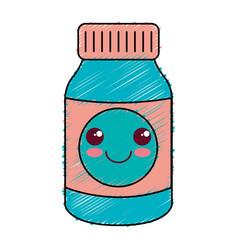 Bottle drugs kawaii character vector