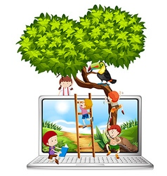 Children climbing tree on computer screen vector