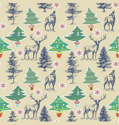 christmas pattern winter holidays seamless pattern vector image