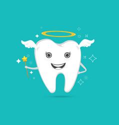 cute angelic tooth vector image vector image