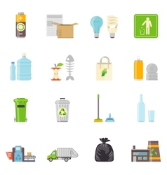 Garbage Recycling Icons Set vector image vector image