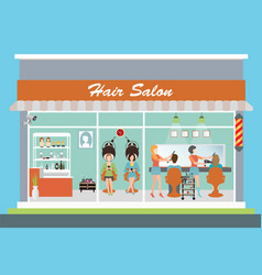 Hair salon building and interior vector