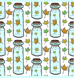 Leaves and bottles seamless pattern autumn vector