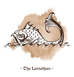 Leviathan legendary sea monster giant whale vector