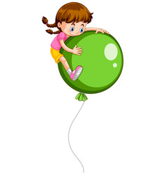 little girl and giant green balloon vector image vector image