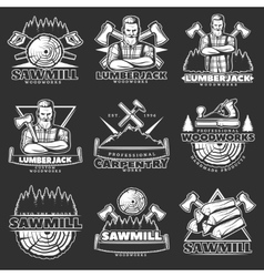Lumberjack Dark Emblem Set vector image vector image
