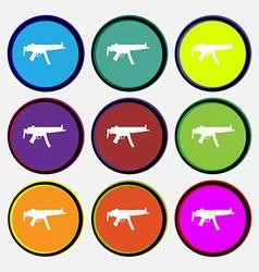 Machine gun icon sign nine multi colored round vector