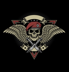 Military Skull with Wings and Daggers vector image vector image