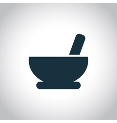 Mortar and pestle pharmacy icon vector
