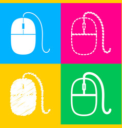 Mouse sign four styles of icon on vector