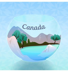 Natural hills river and trees of canada in round vector