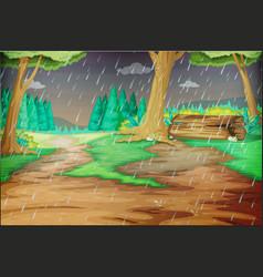 park scene on rainy day vector image vector image
