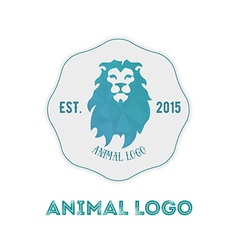 Polygonal hipster logo with head of lion in mint vector