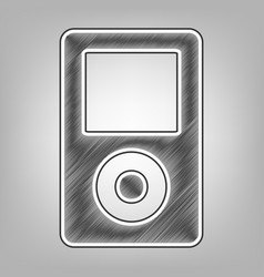 Portable music device pencil sketch vector