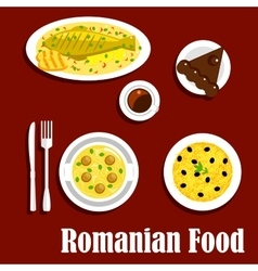 Romanian dinner with dessert flat icon vector image vector image