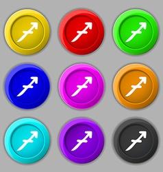 Sagittarius icon sign symbol on nine round vector image