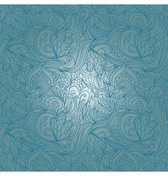 Seamless blue abstract hand-drawn waves pattern vector image
