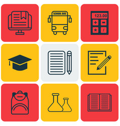 set of 9 education icons includes paper vector image vector image