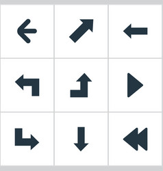set of 9 simple pointer icons can be found such vector image vector image