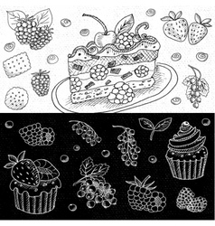 Set of chalk drawn on a blackboard food vector